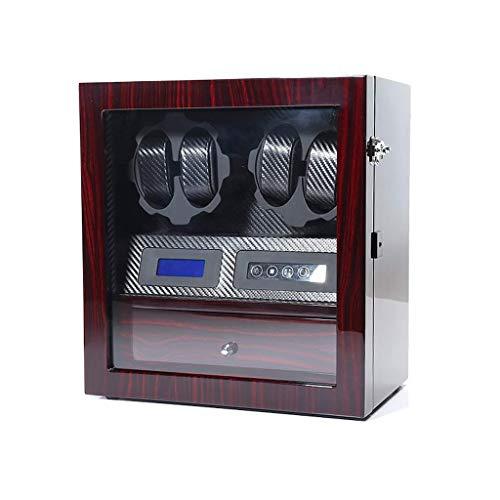 Sunmong Caja enrolladora de Reloj automática 4 + 5, 5 Modos de rotación con luz LED, Pantalla táctil Inteligente con Caja de presentación de Almacenamiento de 5 Relojes (Color: Negro)