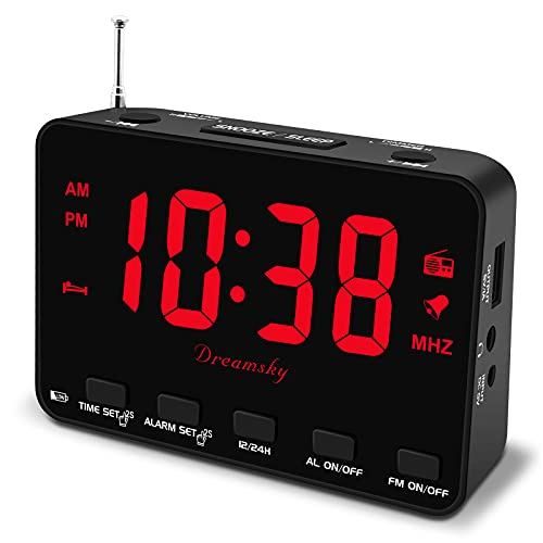DreamSky Alarm Clock Radio with USB Port, Small Digital Clock with Backup Battery Outlet Powered, Transistor FM Clock Radio with 0-100% Dimmer, Bedside Clock Bedroom with Earphone Jack Snooze 12/24H