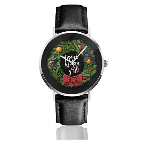 Relojes Cuarzo Cuero Banda Negra Colección Joven Regalo Unisex Business Casual Yippee Ki Yay Christmas Wreath Die Hard