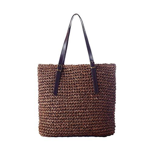 Bolso de hombro para mujer de paja, bolso de playa, bolso de viaje, bolso de mano de vacaciones, bolso de fin de semana, con asa superior, color Marrón, talla Talla única