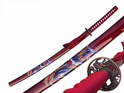 Katana Roter Drache Schwert echt Metall Nicht Scharf Samurai Schwert aus Stahl mit Einer Scheide zur Dekoration für einen Sammler oder als Geschenk 4KM80-405RD