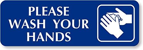 SmartSign Please Wash Your Hands Sign | 2' x 6' Aluminum Diamond Plate Door Sign
