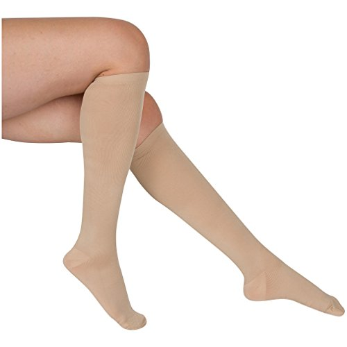 EvoNation Women's USA Made Graduated Compression Socks 8-15 mmHg Mild Pressure Medical Quality Ladies Knee High Support Stockings Hose - Best Comfort Fit, Circulation, Travel (Large, Tan Beige Nude)
