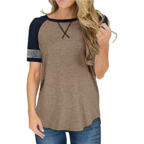 Camiseta de Manga Corta para Mujer, Cuello Redondo, Costura, Color a Juego, Suelto, Simple, Diario, básico, Informal, Jersey M