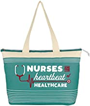 Cheersville Large Canvas Tote Bag - Nurses Are The Heartbeat of Healthcare - Nurses Week Gifts