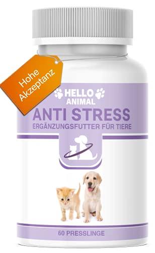 Hello Animal Anti Stress Presslinge – hochdosiert Baldrian Beruhigungsmittel für Katzen und Hunde – wirkt unterstützend gegen Panikattacken, innere Unruhe und Angststörungen, rezeptfrei