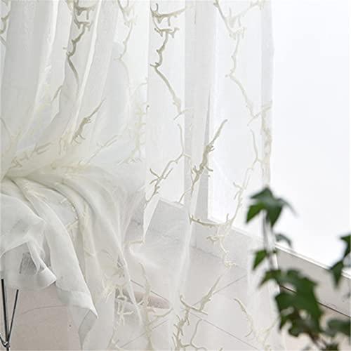 FACWAWF Hilo De Lino Simple, Fresco, Opcional De Tres Colores, Hilo De Algodón, Mosquitero Bordado, Sala De Estar, Dormitorio, Estudio, Cortinas Semi-Opacas 250x270cm(2pcs)