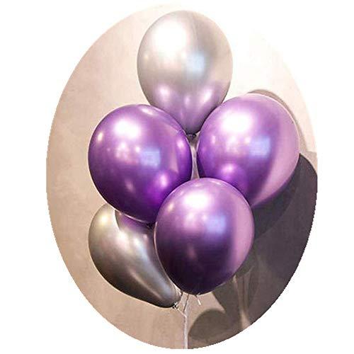 50pcs purple silver balloons metallic Party Balloons 12inch Latex Shiny Chrome Balloons in Purple Silver Balloons for fathers day Birthday party Supplies (Purple&Silver)