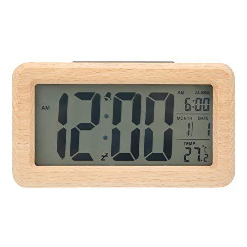 01 Reloj Despertador Digital, Interruptor de Control fotosensible automático Trasero, Carcasa de Madera Pura, Pantalla LCD, Reloj electrónico, para Oficina(Solid Wood Color)