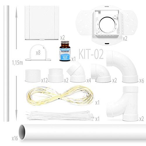 kit aspiration centralisée nadair Kit 2 Prises Européennes + 16 x 1.15m tube