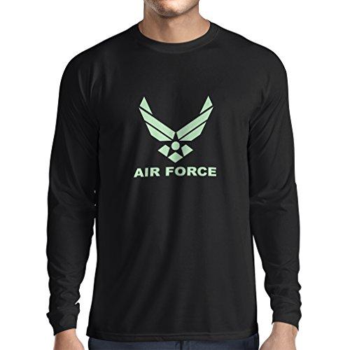 lepni.me Camiseta de Manga Larga para Hombre United States Air Force (USAF) - U. S. Army, USA Armed Forces (XX-Large Negro Fluorescente)