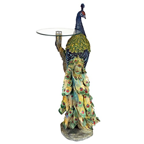 Design Toscano Peacock's Perch Sculptural Glass-Topped Pedestal Table