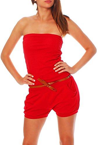 Malito Damen Einteiler kurz in Unifarben | Overall mit Gürtel | schicker Jumpsuit | Romper - Playsuit - Hosenanzug 8964 (rot)
