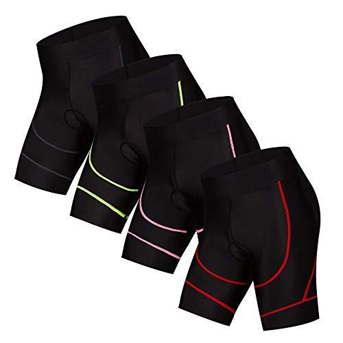 Radhose Damen Pro MTB Rennrad Shorts mit 4D Gel Padded Coolmax Breathable Quick Dry Enge Bermuda Shorts Fahrrad Herren radunterhose (Color : Pink, Size : 3XL)