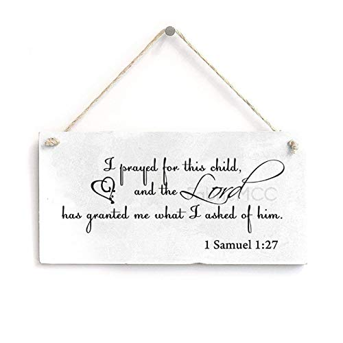 WorldOfLove 8' x 16' I Prayed for This Child 1 Samuel 1 27 Sign Plaque, Bathroom Home Wall Decoration Art Sign