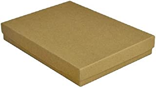 10 Pack Cotton Filled Kraft Color Jewelry Gift and Retail Boxes 5.25 X 3.75 X 1 Inch Size