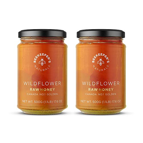 BEEKEEPER'S NATURALS Wildflower Honey - Raw, Wildcrafted and Unprocessed- Rich in Nutrients and Beneficial Enzymes - Notes of Mint & Lavender-100% Raw, Pure Honey - Paleo-friendly, Gluten-Free (2pack)