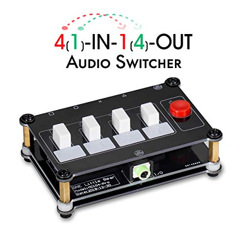 Nobsound Little Bear 4 Way Audio Switch; 3.5mm Audio Switcher; Stereo AUX Audio Selector; Audio Splitter; 4(1)-in-1(4)-Out
