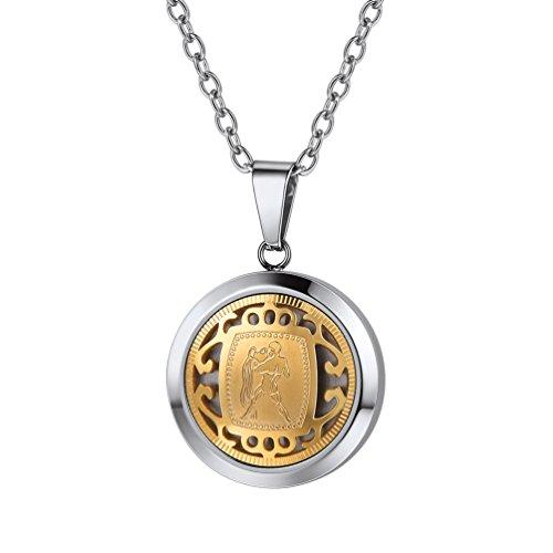 PROSTEEL Collar de horóscopo Acuario Acero Inoxidable Chapado en Oro Regalo para Hombre Mujer
