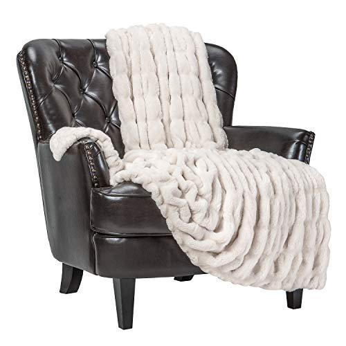 Chanasya Ruched Royal Faux Fur Throw Blanket - Fuzzy Plush Elegant Blanket...