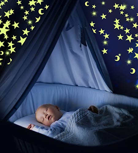 Glow in The Dark Stars & Moon Pack of 300 | Fluorescent Ceiling Stars for Kids | Estrellas Fluorescentes para Niños | Glow Moon and Stars Set for Bedrooms and Nurseries