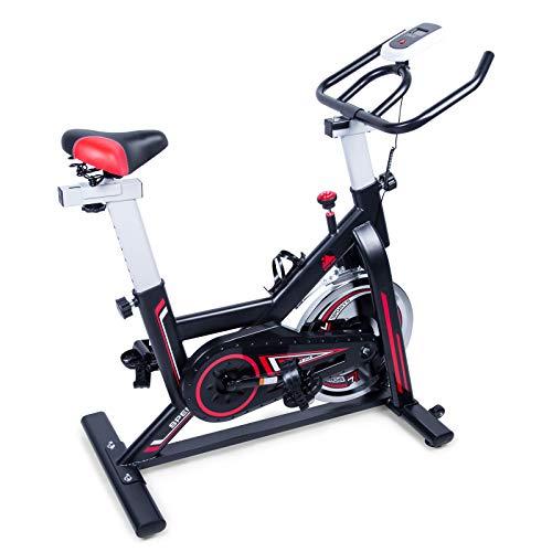 EVOLAND Bicicleta estática para interiores, Bicicleta estática magnética, Pantalla LCD, Bicicleta giratoria con resistencia ilimitada, Soporte para hervidor, Asiento ajustable - Negro