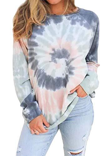 YMING Frauen Farbverlauf Sweatshirts Lässige Tie-Dye Bluse Langarm Oberteil Freizeit Grau Blau XL