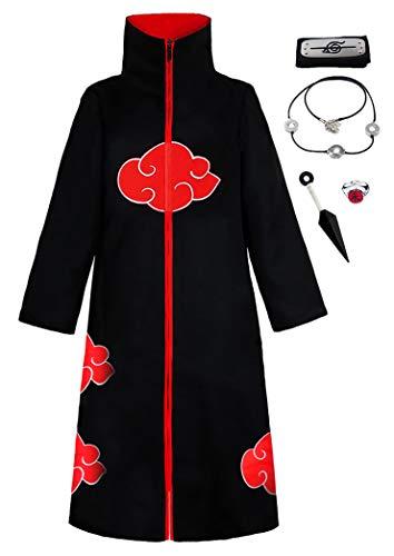 KuKiee Unisex Long Ninja Robe Akatsuki Cloak Halloween Cosplay Costume Uniform (Medium, Stand Collar Cloak with Accessories)