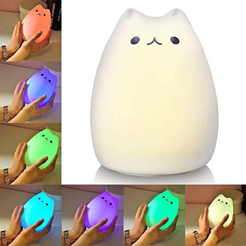 Litake, luce notturna a LED, ricaricabile tramite USB, multicolore, in morbido silicone, con gattino Celebrity Cat