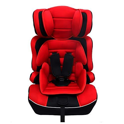 Arebos Kinderautositz | 5-Punkt-Sicherheitsgurt | Kindersitz | Gruppe 1+2+3 für 9-36kg | Einstellbare Kopfstütze | ECE R44/04 | Abnehmbare Rückenlehne | Verstellbar (44 x 44 x 66-78 cm) | Rot