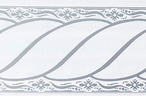 Dundee Deco MGAZBD5013 Tapeten Bordüre, selbstklebend, Damast, grau, weiße Schnörkel, Rolle Tapetenbordüre 10 m x 5 cm