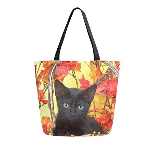 Naanle Animal Cat Canvas Tote Bag Large Women Casual Shoulder Bag Handtasche, Autumn Maple Kitten Reusable Mehrzweck-Heavy Duty Shopping Lebensmittel-Baumwolltasche für Outdoor