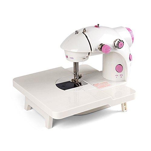 Mini máquina de coser plegable soporte para aumentar el área de operación, con opción de doble velocidad, pedal de pie y pedal, cubierta de seguridad para niños principiantes (rosa)