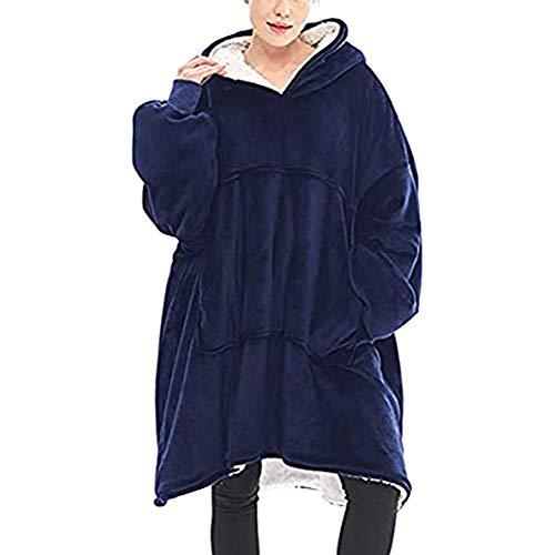 HiCollie 着る毛布 ポンチョ フード付き パーカー 冬 ガウン 洗える ブランケット 袖付き毛布 着るブランケット 防寒 あったか 部屋着 ルームウェア 軽量ゆったり設計 レディース メンズ 冷え対策 防寒 保温 (ネイビー)