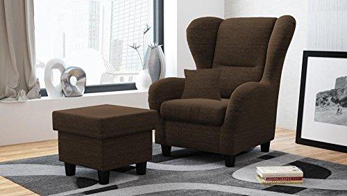 lifestyle4living Ohrensessel mit Hocker braun im Landhausstil | Der perfekte Sessel für entspannte, Lange Fernseh- und Leseabende. Abschalten und genießen!