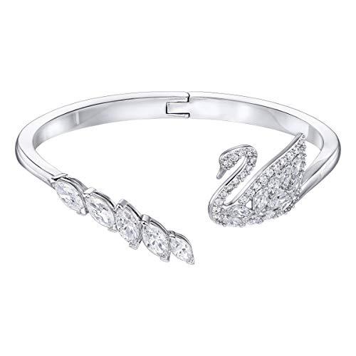 Swarovski Swan Lake armband, wit, gerhodineerd
