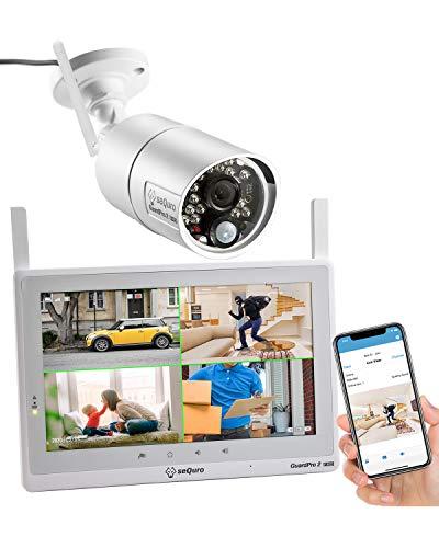 SEQURO GuardPro2 Plus 1080p DIY drahtloses Videoüberwachungssystem mit großer Reichweite 10 Zoll FHD Touchbildschirm - 1 Außen- Innenkamera mit Nachtsichtfunktion - IP66 wetterfest