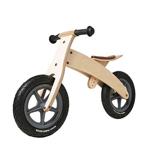 Bicicleta sin pedales Bici Bicicleta de Equilibrio de Madera Negra para niño/niña, Bicicletas de Empuje con neumático de Goma y Asiento Ajustable (Color : Wooden Color)