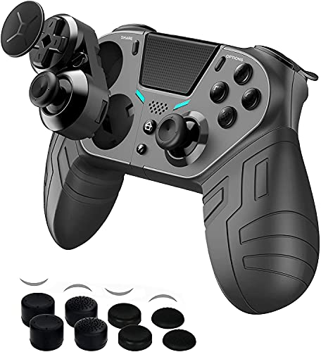 【2021 Upgraded Version】 PS4 Controller with 3 Programmable Back Buttons and 1 Sensitivity-Control Back Button, Game Controller Remote with Turbo/Gyro/HD Dual Vibration/Touch Panel/LED