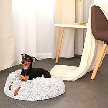 lionto by dibea Panier rond pour chien coussin pour chat panier donut Ø 40 cm (S) Gris clair