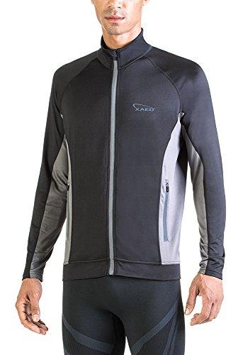 XAED - giacca a vento a maniche lunghe, da uomo, Large, colore nero / grigio