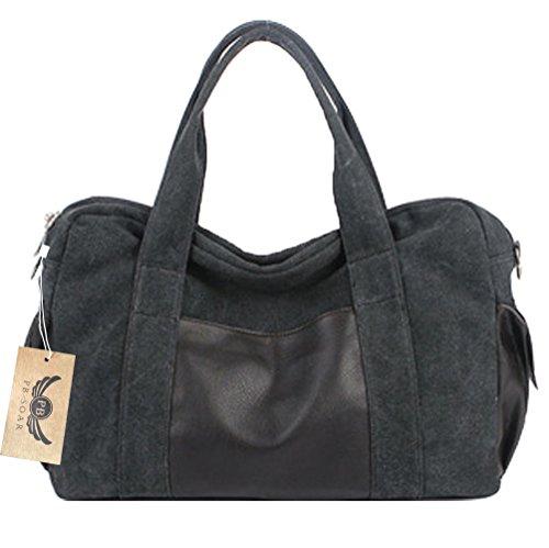 PB-SOAR PB-SOAR Unisex Vintage Canvas Weekender Reisetasche Handgepäck Henkeltasche Schultertasche Sporttasche Multifunktional Tasche (Schwarz)