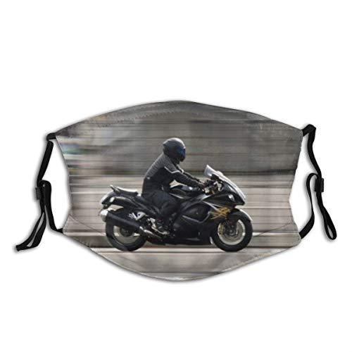 AIMILUX Gesichtsbedeckung,Motorrad Suzuki Motorräder fliegen auf den Straßen,Sturmhaube Unisex Wiederverwendbar Winddicht Staubschutz Mund Bandanas Outdoor Camping Motorrad Running Mit 2 Filtern