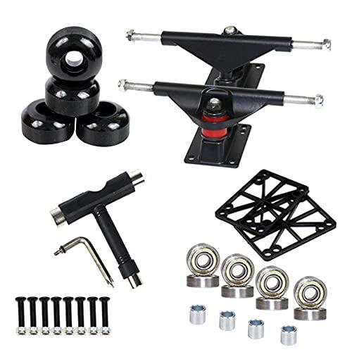 Niktule Juego de ruedas de monopatín, soporte de monopatín, rodamientos de skate y conjunto de herramientas de rueda, adecuado para cualquier monopatín, hecho de metal PU duradero