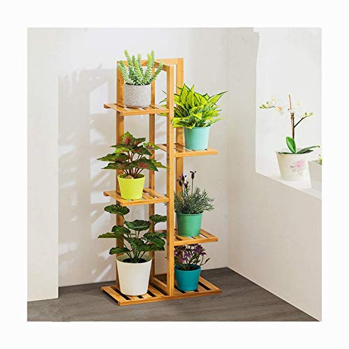 Holz Pflanzenständer Rack 6 Tier Indoor & Outdoormultiple Halter Regal Rack Pflanzgefäß Display Ladder Design für Patio Garten Wohnzimmer Ecke Balkon und Schlafzimmer (Color : Beige)