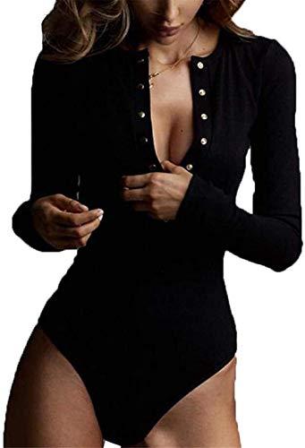 WangsCanis Body de mujer Slim ajustado, camiseta de manga larga con botones...