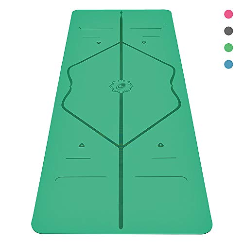 Liforme Original Yoga Mat - The World's Best Eco-Friendly, Non Slip Yoga Mat with The Original & Unique Alignment Marker System - Made with Natural Rubber - Biodegradable Yoga Mat - Green