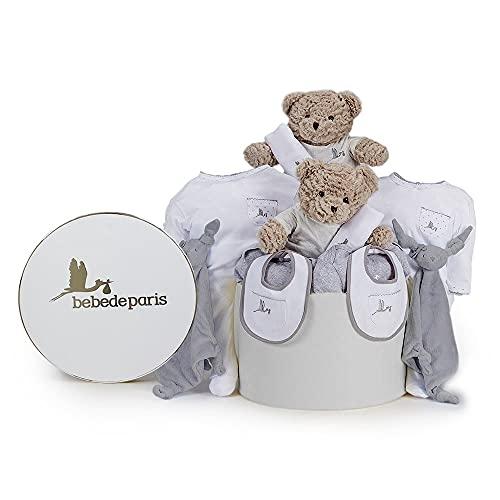 BebeDeParis   Regalos Personalizados para Bebés Recién Nacidos Gemelos   Canastilla Bebé Clásica Gemelos   Caja Estilo Vintage   3-6 Meses (Gris)