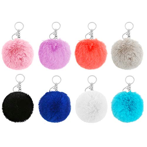 Auihiay 8 Pieces Pom Poms Keychain Fluffy Faux Rabbit Fur Pompoms Keychains for Girls Women