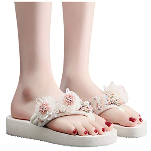 For Sale! haoricu Womens Summer Fashion Flip Flops Clip Toe Slipper Ladies Girl Bohemia Flower Beach Slipper Sandals Beige